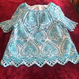 Women's turquoise/ eyelet tunic